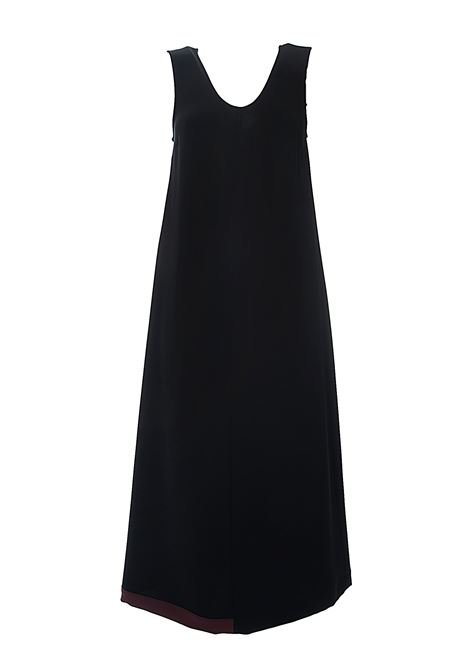 LONG BLACK FLUID CREPE DRESS WITH CONTRASTING BOTTOM ALYSI | Dress | 100330P0055NERO