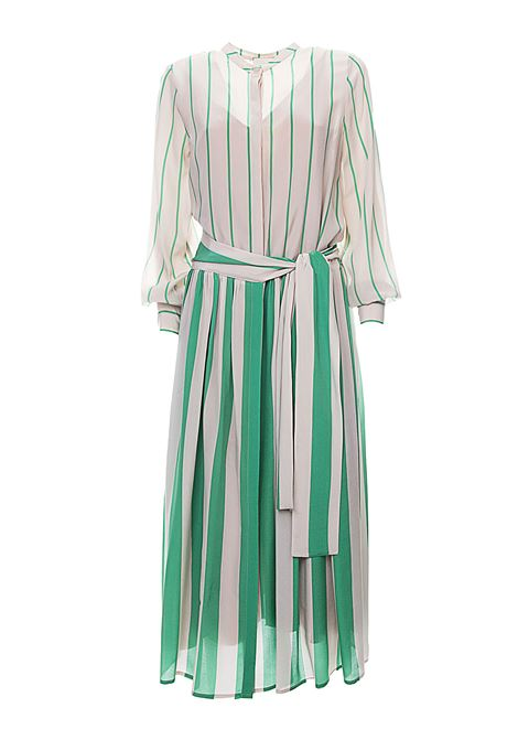 STRIP & STRIPES SILK DRESS WITH STRIPED FANTASY ALYSI | Dress | 100361P0041VERDE