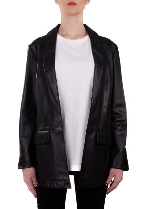 BLACK LEATHER BLAZER ALYSI | Jackets | 200805P0046NERO