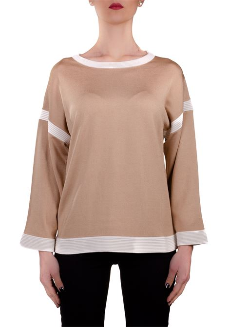 BEIGE SWEATER WITH CONTRASTING DETAILS BOUTIQUE MOSCHINO | Sweaters | 09251103A1018