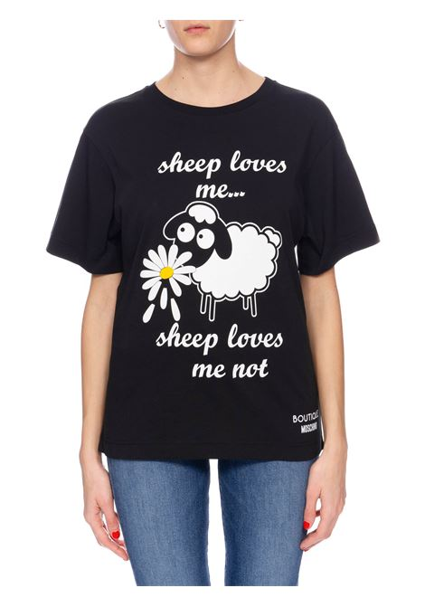 T-SHIRT NERA CON STAMPA FRONTALE BOUTIQUE MOSCHINO | T-shirt | 120108401555