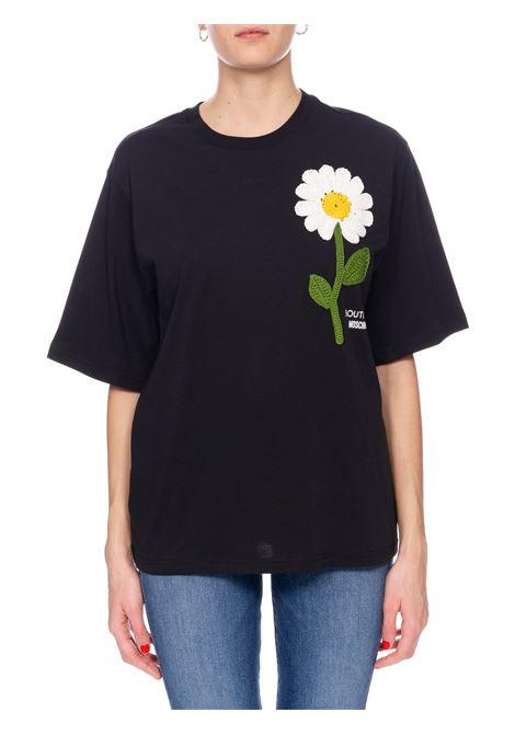 T-SHIRT NERA CON RICAMO BOUTIQUE MOSCHINO | T-shirt | 120408404555
