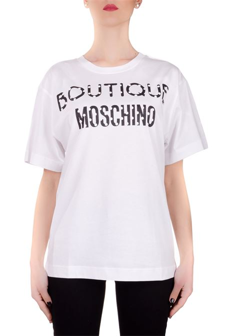 WHITE COTTON T-SHIRT WITH FRONT LOGO PRINT BOUTIQUE MOSCHINO | T-shirt | 12071140A5001