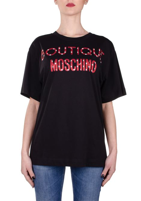 BLACK COTTON T-SHIRT WITH FRONT LOGO PRINT BOUTIQUE MOSCHINO | T-shirt | 12071140A555