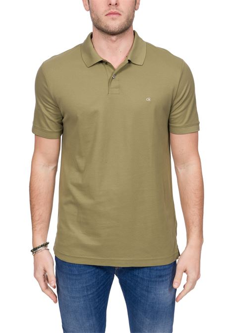 GREEN COTTON POLO WITH FRONT LOGO EMBROIDERY CALVIN KLEIN | Polo Shirts | K10K102758MSS