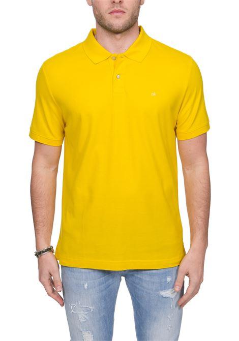 YELLOW COTTON POLO WITH FRONT LOGO EMBROIDERY CALVIN KLEIN | Polo Shirts | K10K102758ZCO