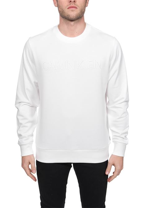 WHITE COTTON SWEATSHIRT WITH FRONT LOGO APPLICATION CALVIN KLEIN | Sweatshirts | K10K105150YBS