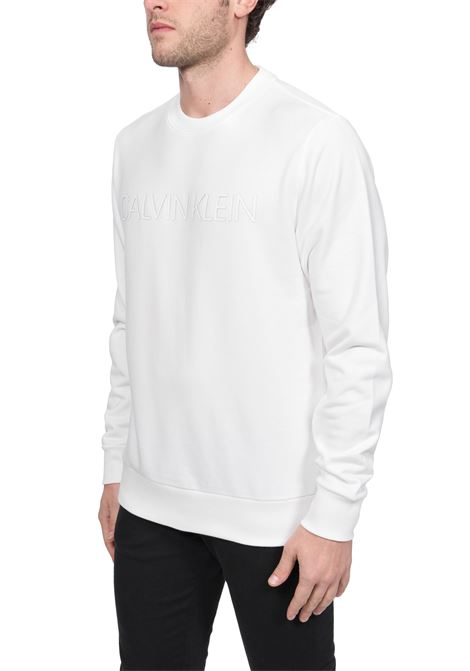 WHITE COTTON SWEATSHIRT WITH FRONT LOGO APPLICATION CALVIN KLEIN | Sweatshirts | K10K105150YBS