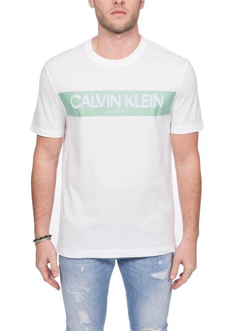 T-SHIRT BIANCA STRIPE LOGO CALVIN KLEIN | T-shirt | K10K105165YBS