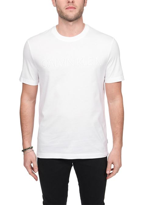 WHITE COTTON T-SHIRT WITH FRONT LOGO APPLICATION CALVIN KLEIN | T-shirt | K10K105166YBS