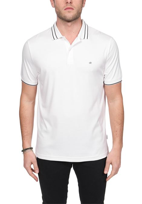 POLO BIANCA IN COTONE SOFT INTERLOCK TIPPING CALVIN KLEIN | Polo | K10K105183YBS