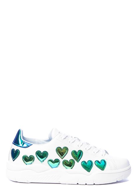 WHITE SNEAKERS WITH IRIDESCENT HEARTS CHIARA FERRAGNI | Sneakers | CF2610007