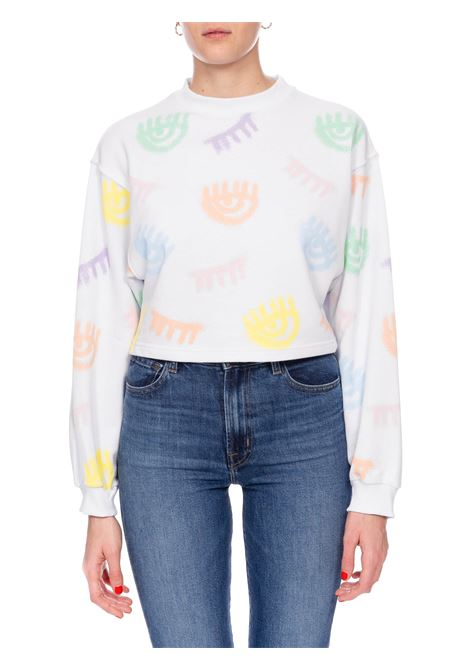 WHITE LOGOMANIA SPRAY SWEATSHIRT CHIARA FERRAGNI | Sweatshirts | CFF097BIANCO