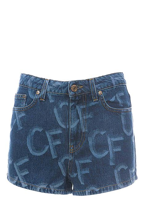 COTTON DENIM SHORTS WITH ALL OVER LOGO CHIARA FERRAGNI | Shorts | CFS033JEANS