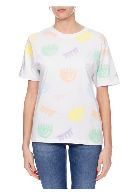 WHITE LOGOMANIA SPRAY T-SHIRT CHIARA FERRAGNI | T-shirt | CFT088BIANCO