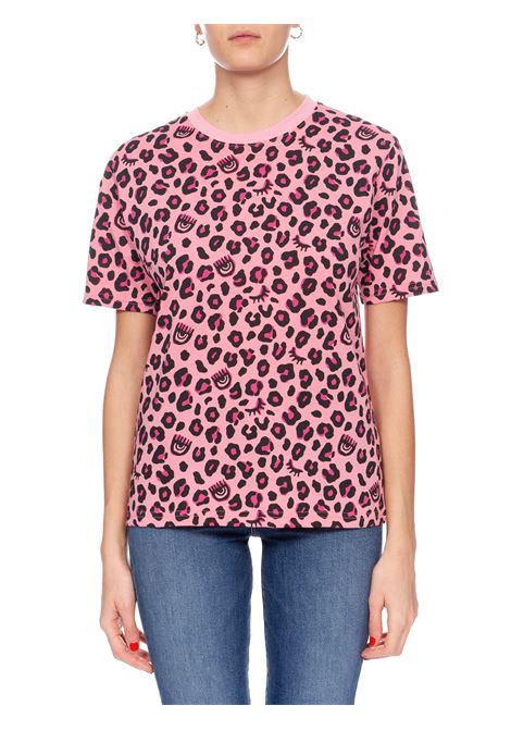 T-SHIRT ROSA STAMPA LEOPARDATA CHIARA FERRAGNI | T-shirt | CFT091ROSA