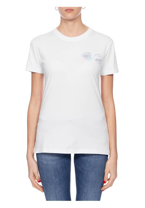 WHITE T-SHIRT WITH FLIRTING EMBROIDERY CHIARA FERRAGNI | T-shirt | CFT093BIANCO
