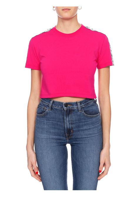 T-SHIRT CROP ROSA LOGOMANIA CHIARA FERRAGNI | T-shirt | CFT096FUCSIA