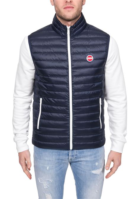 BLUE VEST WITH FRONT LOGO APPLICATION COLMAR | Waistcoats | 1278ZPUNK1MQ68