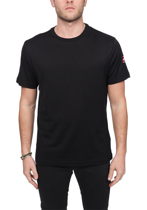 BLACK COTTON T-SHIRT WITH LOGO APPLICATION COLMAR | T-shirt | 7520BOARD6SS99