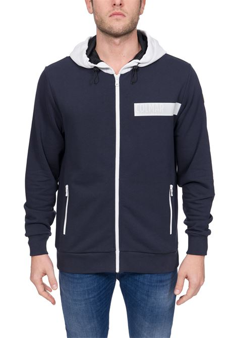 BLUE COTTON SWEATSHIRT WITH FRONT LOGO APPLICATION COLMAR | Sweatshirts | 8238ABOUT5TK68