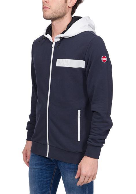 BLUE COTTON SWEATSHIRT WITH FRONT LOGO APPLICATION COLMAR   Sweatshirts   8238ABOUT5TK68