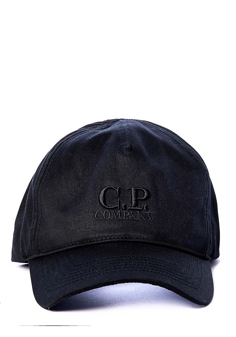 BLACK VISOR HAT WITH FRONT LOGO EMBROIDERY C.P. COMPANY | Hats | 08CMAC097A005279A999
