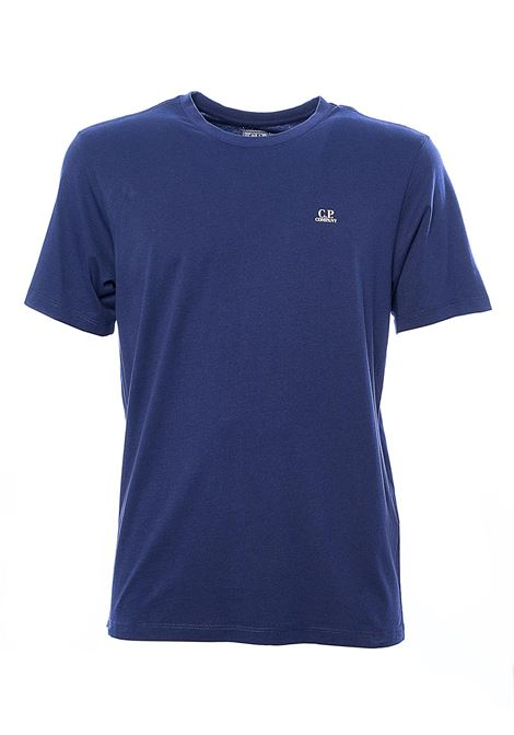 BLUE COTTON T-SHIRT WITH FRONT LOGO PRINT C.P. COMPANY | T-shirt | 08CMTS291A005100W878