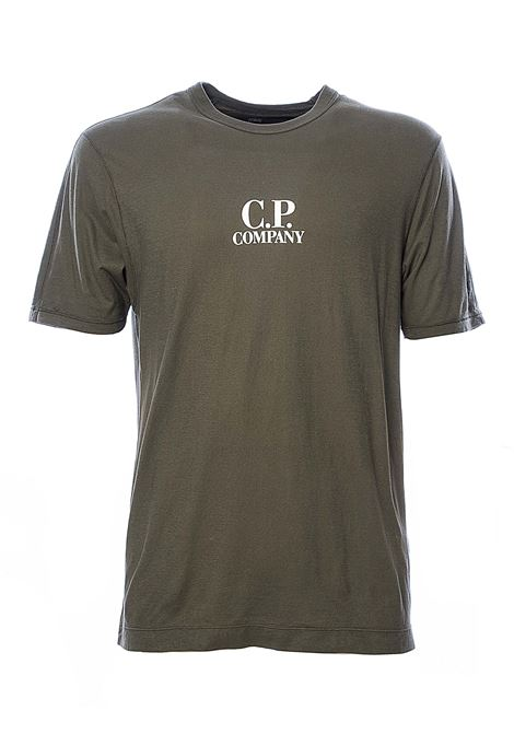 GREEN COTTON T-SHIRT WITH FRONT LOGO PRINT C.P. COMPANY | T-shirt | 08CMTS295A005689G677