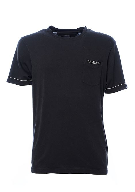 T-SHIRT NERA IN COTONE CON STAMPA LOGO FRONTALE C.P. COMPANY | T-shirt | 08CMTS297A005431O999