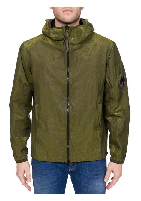 GREEN OUTERWEAR JACKET WITH LOGO APPLICATION ON SLEEVE C.P. COMPANY | Jackets | MOW106A00V02