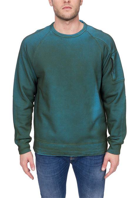 GREEN SWEATSHIRT IN HAND SPRAYED MEDIUM WEIGHT COTTON C.P. COMPANY   Sweatshirts   MSS327A00V01