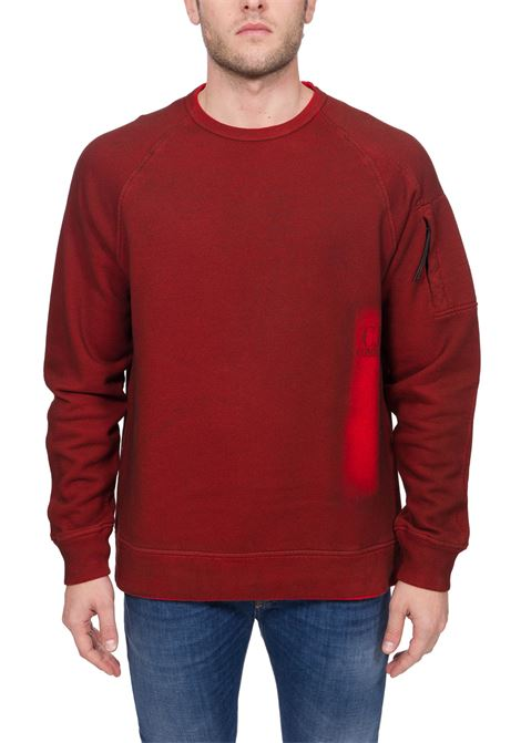 RED SWEATSHIRT IN HAND SPRAYED MEDIUM WEIGHT COTTON C.P. COMPANY | Sweatshirts | MSS327A00V03