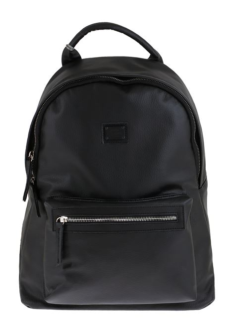 BLACK FAUX LEATHER BACKPACK DANIELE ALESSANDRINI | Backpacks | B30740001