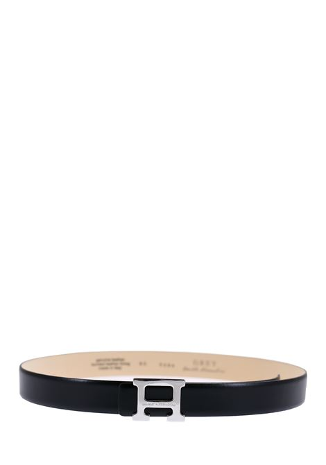 BLACK LEATHER BELT DANIELE ALESSANDRINI | Belts | NL5594A40001