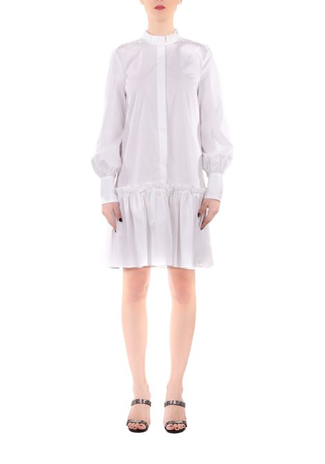 WHITE COTTON DRESS WITH ROUCHE DONDUP | Dress | A992PS0012XXXDDS20000