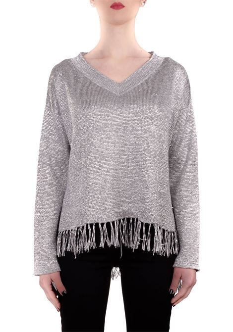 SILVER SWEATER WITH LUREX DETAIL DONDUP | Sweaters | DM362M00702002DDS20952