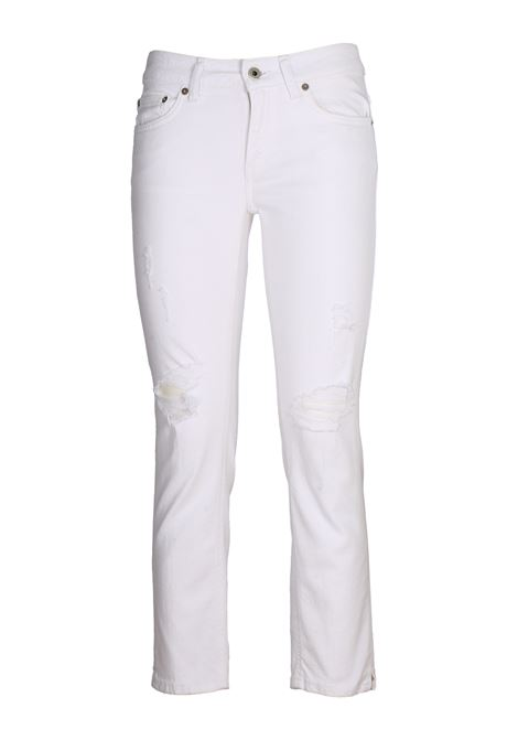 NEWDIA CROPPED WHITE JEANS IN COTTON DENIM DONDUP | Jeans | DP405BS0009AF9DDS20000