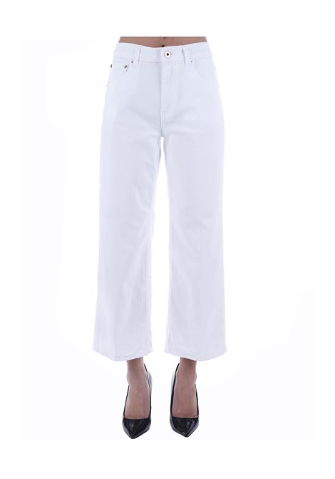 PANTALONI BIANCO AVENUE LOOSE FIT IN COTONE DONDUP | Pantaloni | DP500BSE027PTDDDS20000