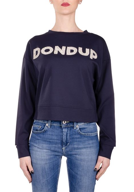 BLUE SWEATSHIRT WITH FRONT LOGO APPLICATION DONDUP | Sweatshirts | F197KS0020ZA2DDS20897