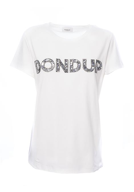 WHITE COTTON T-SHIRT WITH FRONT LOGO APPLICATION DONDUP | T-shirt | S007JS0241ZB9DDS20000