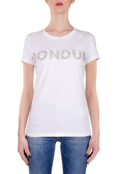 WHITE COTTON T-SHIRT WITH FRONT APPLICATION DONDUP | T-shirt | S007JS0241ZE2DDS20000