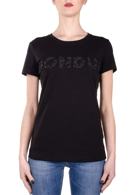BLACK COTTON T-SHIRT WITH FRONT APPLICATION DONDUP | T-shirt | S007JS0241ZE2DDS20999