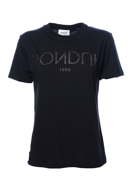 BLACK COTTON T-SHIRT WITH GLITTER LOGO PRINT DONDUP | T-shirt | S746JF0234DZB8999