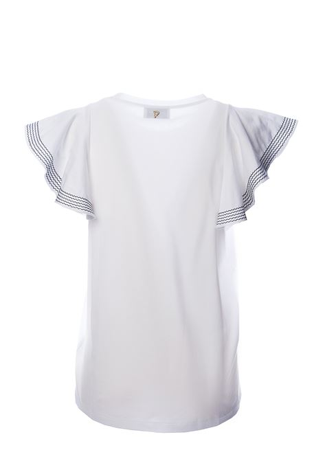 WHITE COTTON T-SHIRT WITH EMBROIDERY DETAIL ON SLEEVES DONDUP | T-shirt | S821JF0243DZE3DDS20000