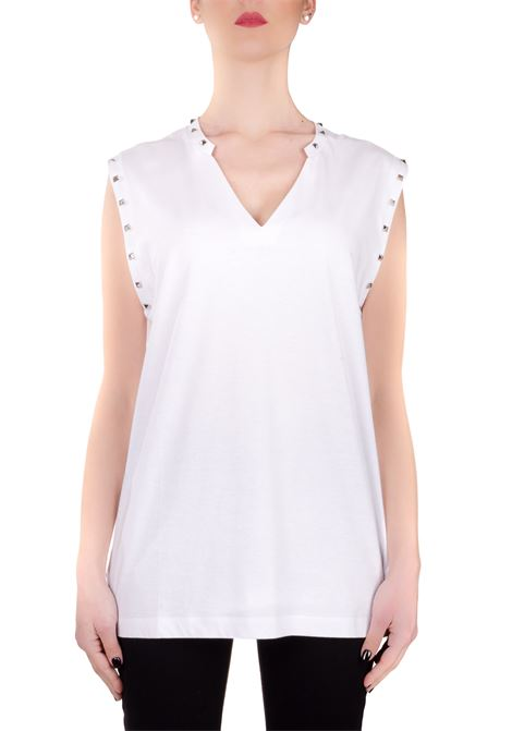 WHITE COTTON TANK WITH STUDS DONDUP |  | S827JF0234DZG2DDS20000