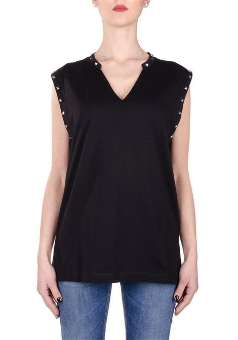 BLACK COTTON TANK WITH STUDS DONDUP |  | S827JF0234DZG2DDS20999