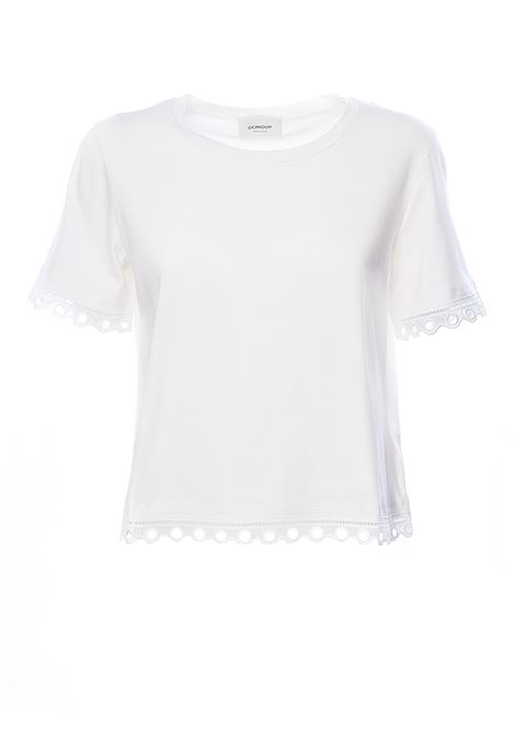 WHITE T-SHIRT WITH EMBROIDERED EMBROIDERED COTTON EDGES AND INSERTS DONDUP | T-shirt | S833JS0241D032DD000