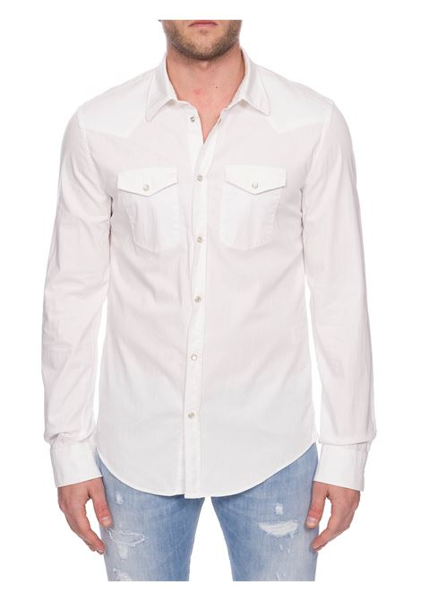 CAMICIA BIANCA WESTERN IN COTONE DONDUP | Camicie | UC220CS0103PT3DUS20000