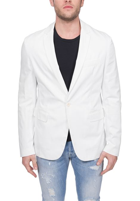 SEMI-LINED SINGLE-BREASTED WHITE JACKET DONDUP | Jackets | UJ546AS0049PT3DUS20000